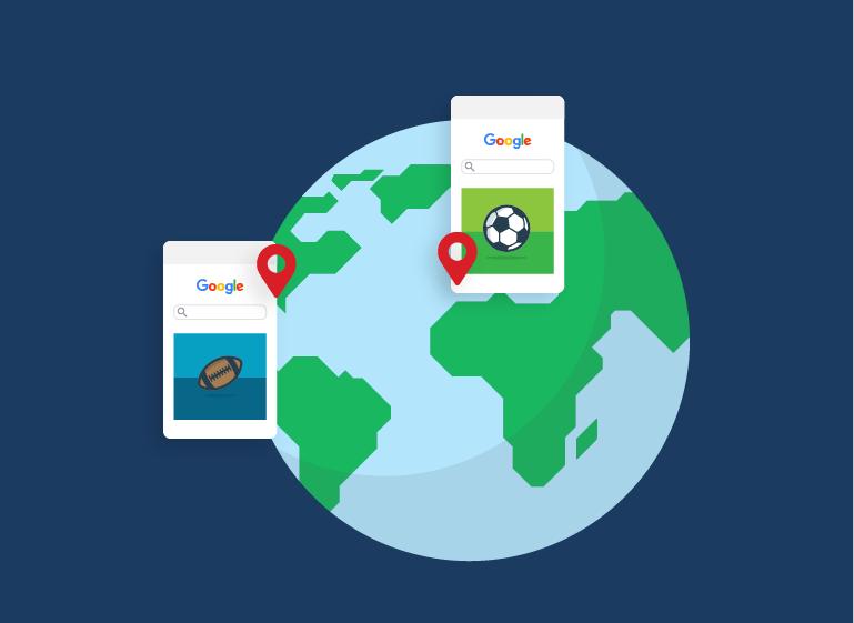 搜尋關鍵字足球搜尋意圖會因地點而改變