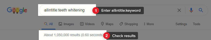 Use allintitle to find results