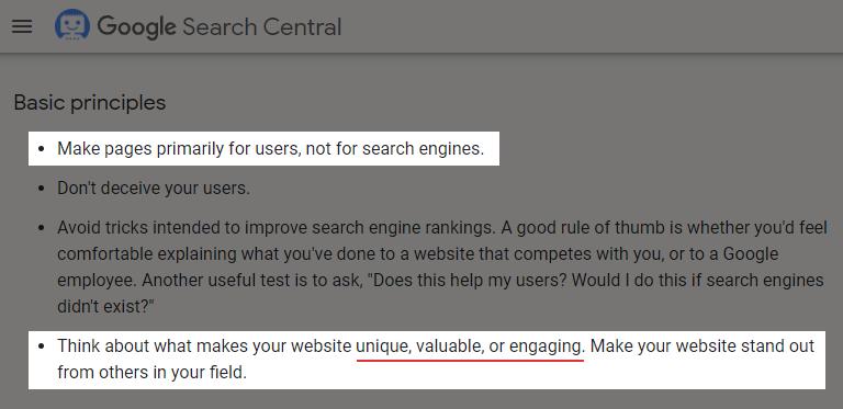 Google's Valuable Content