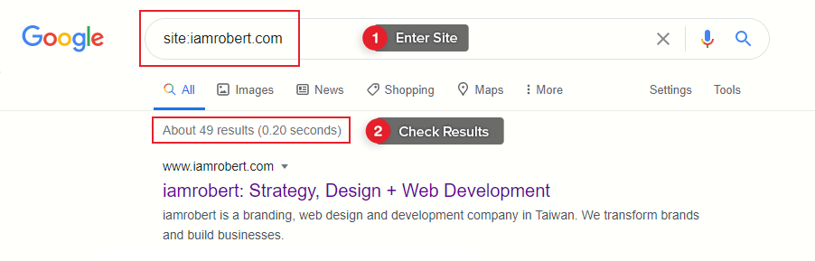 Check if site is indexed.