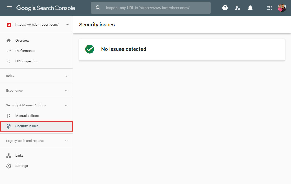 Google Search Console Security Issues detects problems.