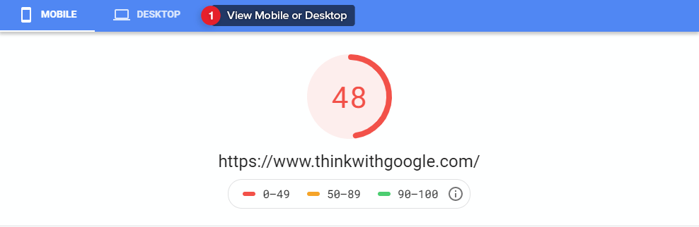 Google PageSpeed Insights (PSI) Results.