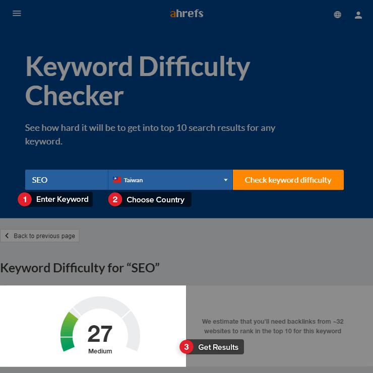 Ahrefs Keyword Difficulty Checker