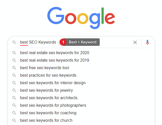 Use Best + Keyword with Google Autocomplete to find Long-tail Keywords.
