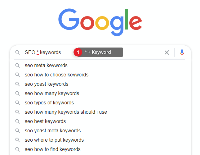 Use * as wildcard with Google Autocomplete to find Long-tail Keywords.