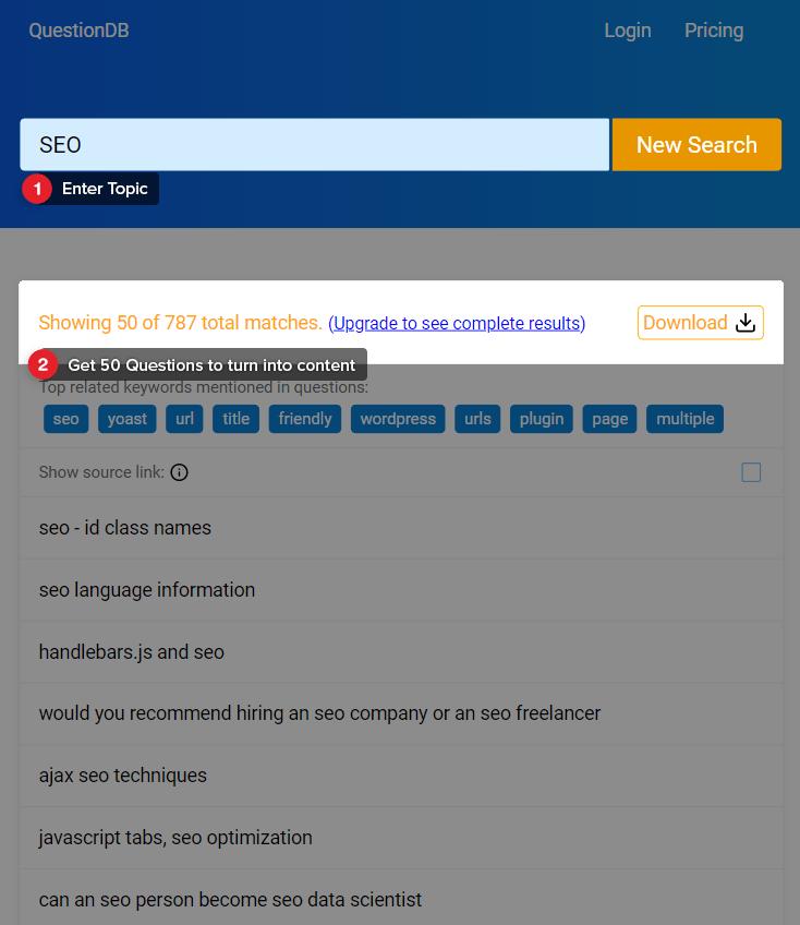 QuestionDB Screenshot.