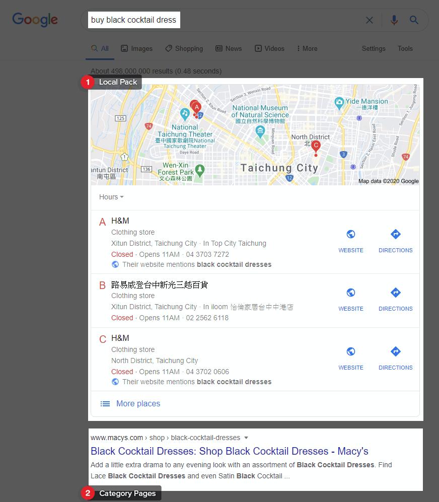 Google buy black cocktail dress SERP result