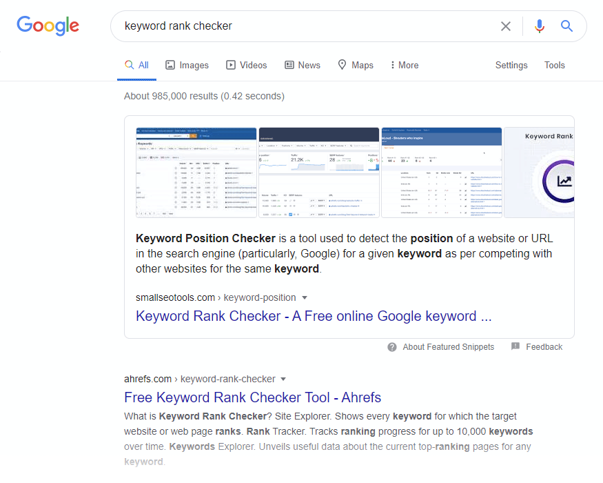 Google keyword rank checker SERP screenshot.