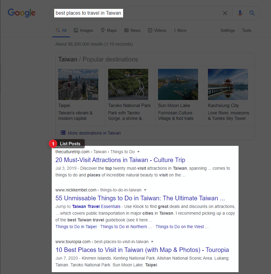 Google best places to travel in Taiwan SERP result