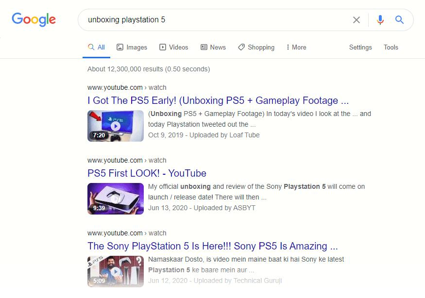Google unboxing playstation 5 screenshot.