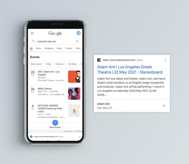 Google Event Schema Results