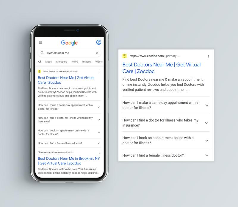 Google FAQ Schema Results